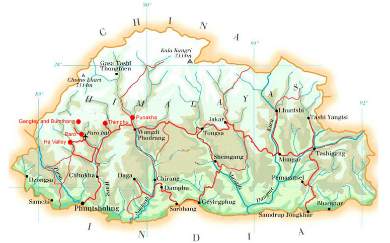 Bhutan Map Map of Bhutan Bhutan Tourist Map